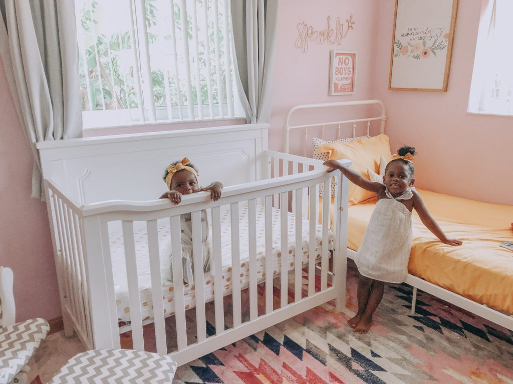 Adorable Pink & Girly Shared Nursery and Toddler Room Ideas